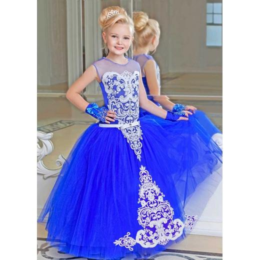 Красивое платье для девочки пышное синее с белым