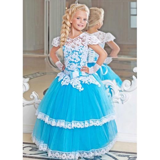 Нарядное праздничное платье для девочки бирюзовое