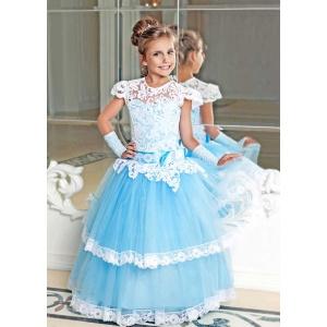Нарядное платье с кружевом для девочки голубое