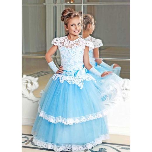 Красивое платье для девочки голубое