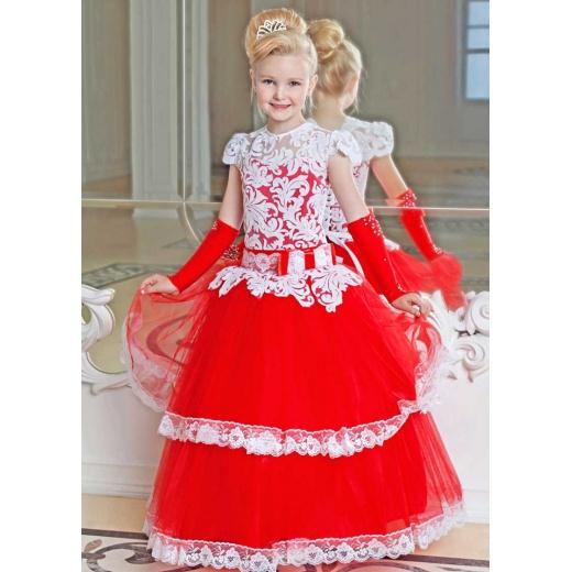Детское платье красное пышное