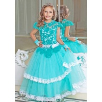 Пышное платье с кружевом для девочки морская волна