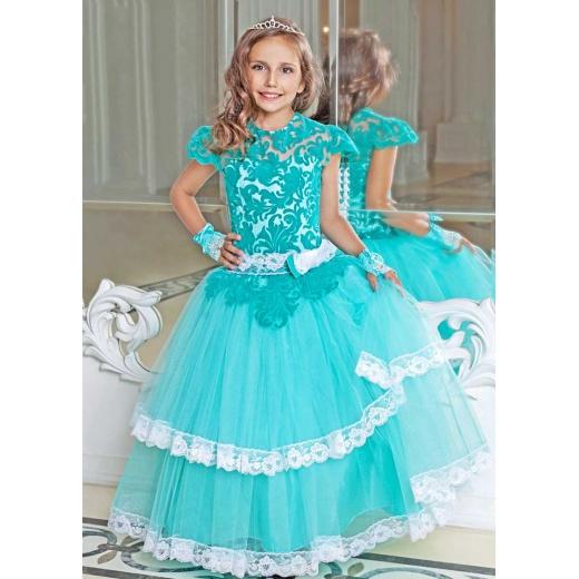 Детское платье с пышной юбкой цвета морской волны