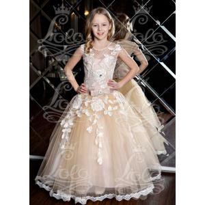 Праздничное платье для девочки бежевое