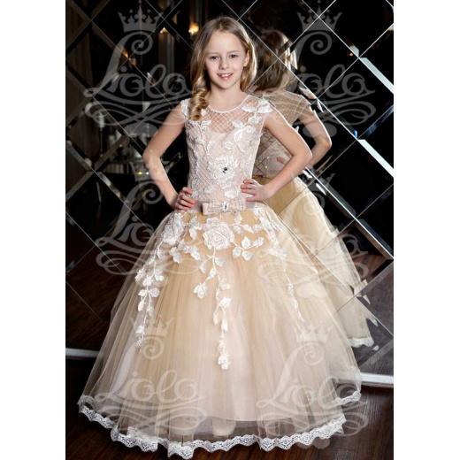 Вечернее платье для девочки пышное бежевое