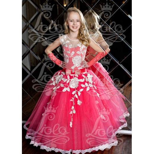 Пышное платье для девочки коралловое
