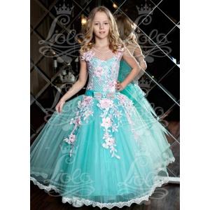 Пышное бальное платье для девочки морская волна с розовым