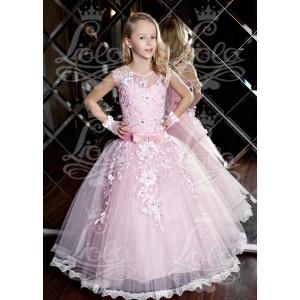Вечернее длинное платье для девочки розовое