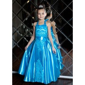 Атласное длинное платье для девочки бирюзовое