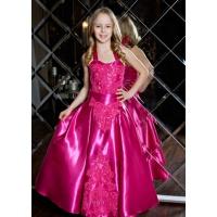 Праздничное атласное платье для девочки малиновое
