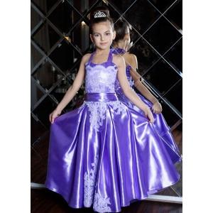 Вечернее платье из атласа для девочки сиреневое