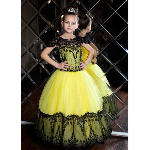 Красивое нарядное платье  в пол для девочки желтое с черным