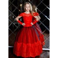 Нарядное бальное платье для девочки красное с черным