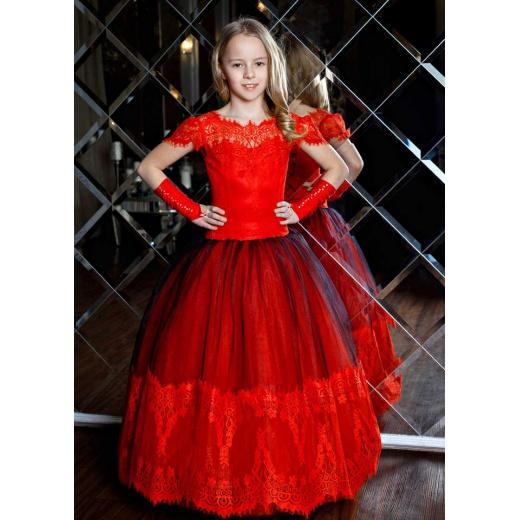 Красное пышное платье в пол для девочки