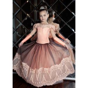 Вечернее платье для девочки персиковое с черным
