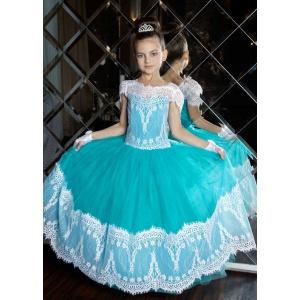 Пышное платье с кружевом для девочки морская волна с белым