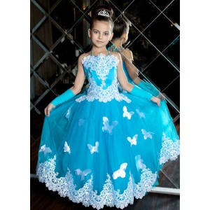 Длинное платье с бабочками для девочки бирюза с белым