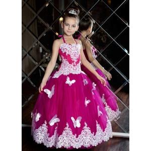 Праздничное платье с бабочками для девочки малина с белым