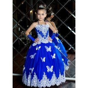 Вечернее платье с бабочками для девочки синее с белым