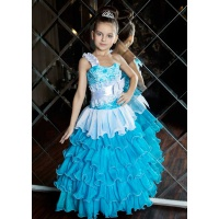 Пышное платье с рюшами для девочки бирюза