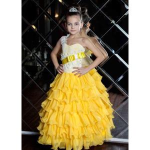 Длинное платье детское желтое