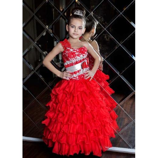 Красивое платье для девочки до пола красное