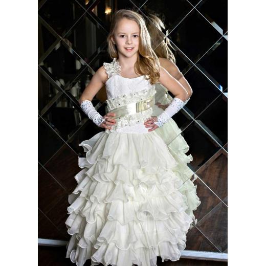Нарядное платье в пол для девочки молочное