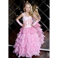 Вечернее платье с рюшами для девочки розовое