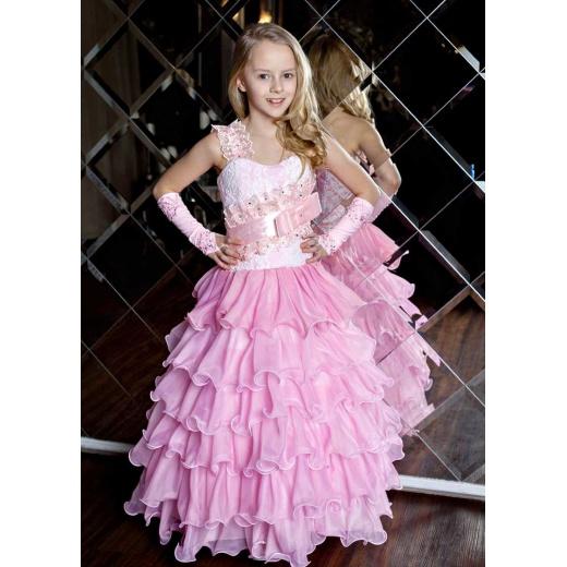 Нарядное платье длинное для девочки розовое