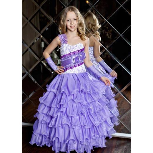 Детское платье для девочки в пол сиреневое