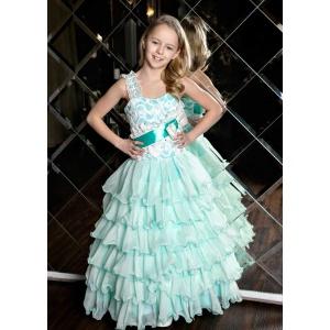 Бальное пышное платье для девочки морская волна
