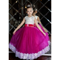 Нарядное платье с фатиновой юбкой для девочки малина с белым