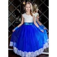 Пышное платье с фатиновой юбкой  в пол для девочки синее с белым