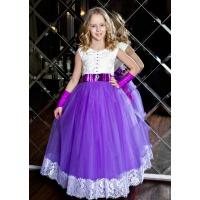 Длинное платье для девочки сиреневое с белым