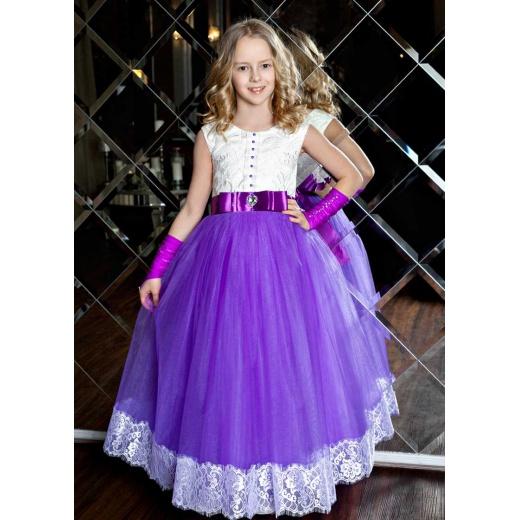 Праздничное длинное платье для девочки сиреневое с белым