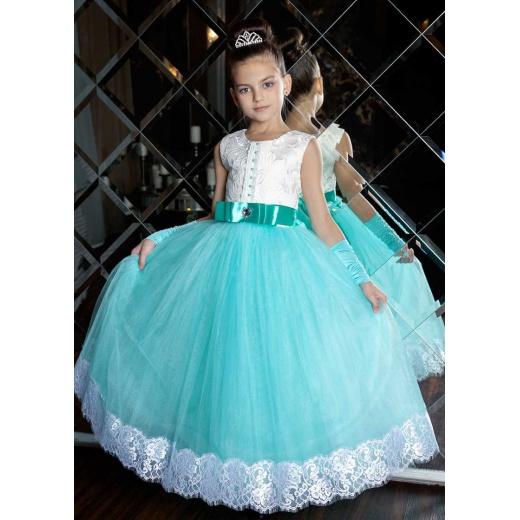 Детское нарядное платье цвета морской волны с белым для девочки