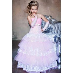 Платье нарядное розовое с белым для девочки