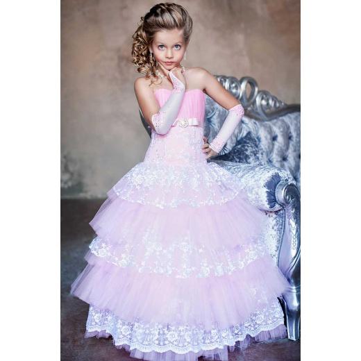 Красивое платье для девочки  розовое с белым