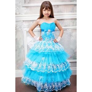 Пышное платье с кружевом для девочки бирюза с белым
