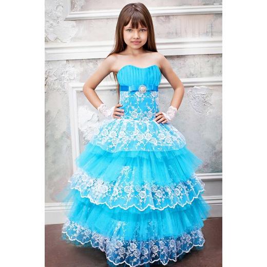 Нарядное платье для девочки бирюзовое с белым