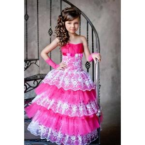 Праздничное платье с кружевом для девочки малина с белым