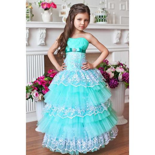 Детское нарядное платье цвета морской волны с белым