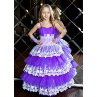 Бальное пышное платье для девочки сиреневое с белым