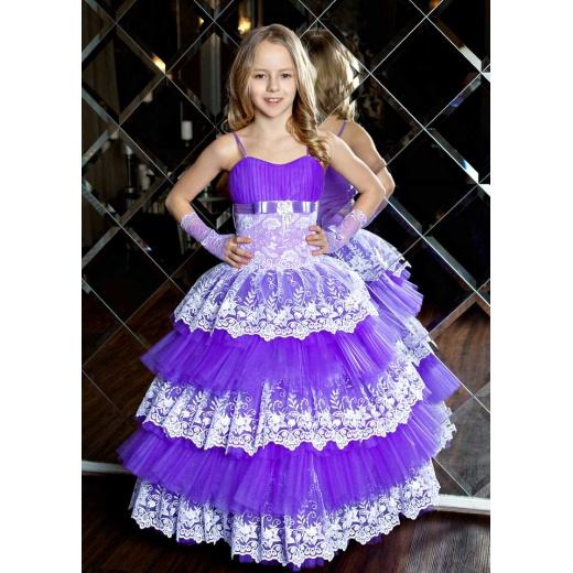 Праздничное платье для девочки сиреневое с белым
