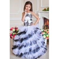 Бальное платье для девочки белое с черным