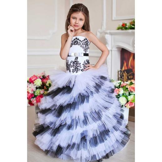 Красивое детское платье белое с черным
