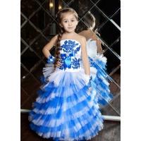 Нарядное платье для девочки белое с синим