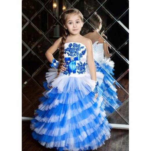 Детское праздничное платье белое с синим