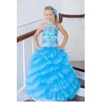 Пышное платье для девочки бирюзовое