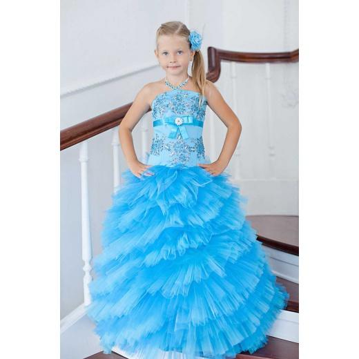 Платье для девочки на праздник  бирюзовое